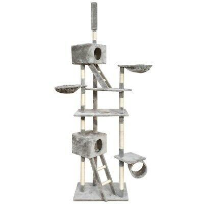 Cat Scratching Post Tree Scratcher Pole 2 House 230-260cm Pet Gym Condo Toy Grey
