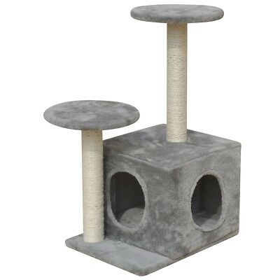 Cat Scratching Post Furniture Tree Tower 60cm 1 House Gym Condo Scratcher Grey