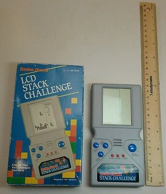Vintage 1980s Tandy Radio Shack LCD Stack Challenge toy electronic tetris game