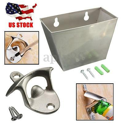 Wall Mount Stainless Steel Bar Beer Bottle Cap Opener Cap Catcher Box Screw Kits