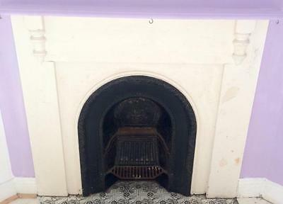 Antique Fireplace Cast Iron Grate Timber Mantle Surround Edwardian VIctorian