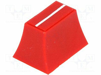 1 pc Knob: slider; Colour: red; 20x14x13mm; Mat: plastic; Pointer: white