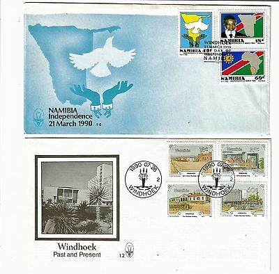 Namibia 1990  2 First Day Covers including Independence Issue
