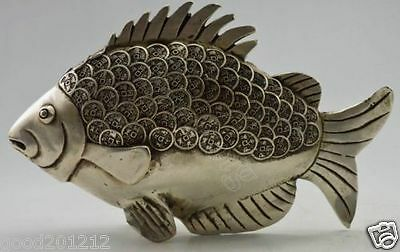 Collectible Decorated Old Handwork Tibet Silver Carved GUangxu C0in Fish Statue
