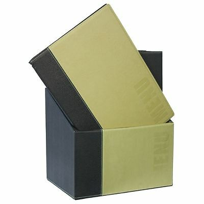 20X Securit Contemporary Menu Holder Set-A4 Green Synthetic Leather Stands