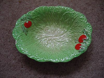 Pretty Green Dish With Red Embossed Tomatoes & Green Lettuce Leaves