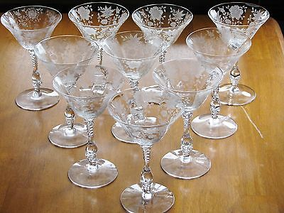 Cambridge Glass WILDFLOWER Etch Crystal Clear Set of 10 Champagne Goblets