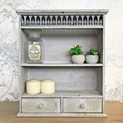 Grey Shabby Chic Wall Unit Shelf Display Storage Cabinet French Vintage Style