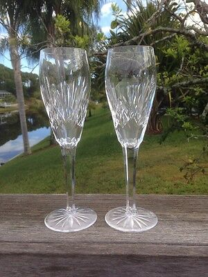 """Pair Of Waterford Crystal White Wine Glasses Signed 8 1/4"""""""