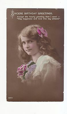 Charming Postcard Head And Shoulder Pose Of A Teenage Girl With Flowers