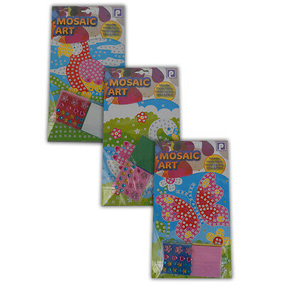 Mosaic Art Set of 3 Butterfly, Parrot, Swan - Great for Kids and Craft Activity