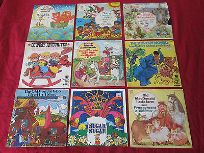 "COLLECTION OF X9 EARLY 1970's CHILDRENS NURSERY RYHMES VINLY RECORDS 7"" E.Ps"