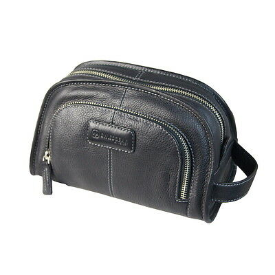 Wenger Swiss Army 100% Leather Travel Wash Toiletry Bag - Black