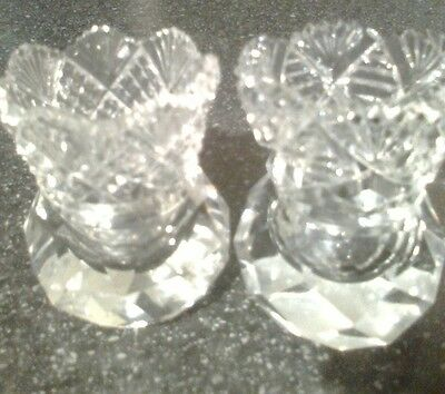 Two beautiful cut glass dressing table trinket pots great condition