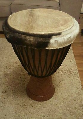 Djembe. Ornate and original hand carved instrument made in Africa.