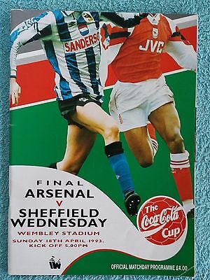 1993 - LEAGUE CUP FINAL PROGRAMME - ARSENAL v SHEFFIELD WEDNESDAY
