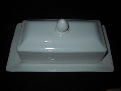 Very Attractive Porcelain White Butter Dish & Lid, Every Day Or Formal, New
