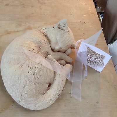 Stone Large Sleeping Cat Garden Lawn Ornament Present Keepsake Gift Remembrance