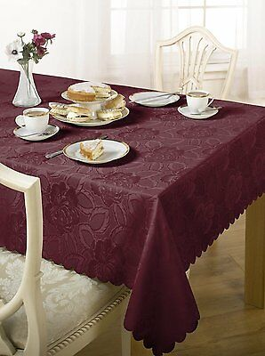 """Damask Rose 60 X 84"""" Table Cloth Wine Oblong"""