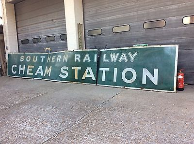 Large Southern Railway Cheam Railway Station Sign