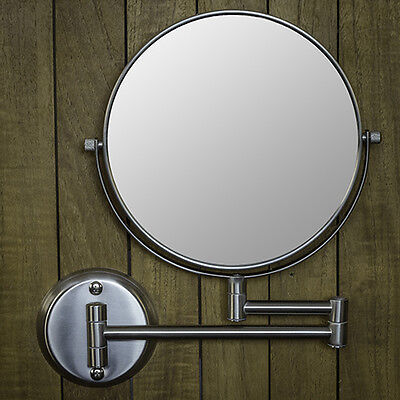 "Hotel Quality NICKEL 8"" Wall Mount Swing Arm 2-Sided Magnifying Mirror 1 & 7X"