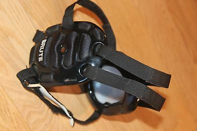 Men's Brute wrestling headgear Black with White accents Excellent condition