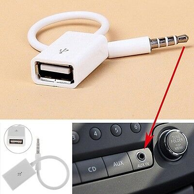 AUX Audio Plug Jack To USB 2.0 Female Converter Cord Cable For Car MP3 Player