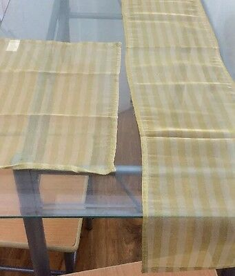 Table Runner And Placemats  Gold Polyester
