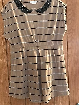 Mamas and Papas Striped Embellished Collar Maternity Top Size Uk 12-14