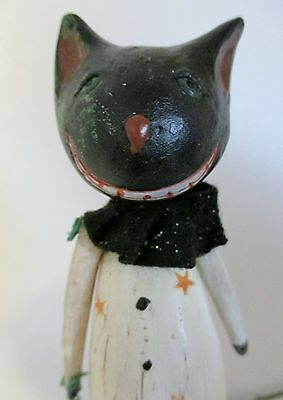 Halloween Cat With Cheshire Grin Standing on Pumpkin Rustic Shabby Chic