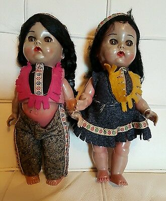 Vintage 'reliable' Twin Dolls, Made In Canada, 1930's....native Dress...l@@k!!!