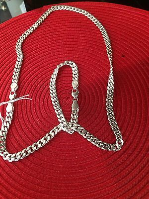 Brand New Solid Silver 925 Hallmarked Men's Necklace And Matching Bracelet