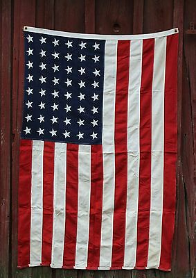 Antique 48 Star Pieced Sewn 5' American Flag Wool Bunting Vintage WWII Vintage