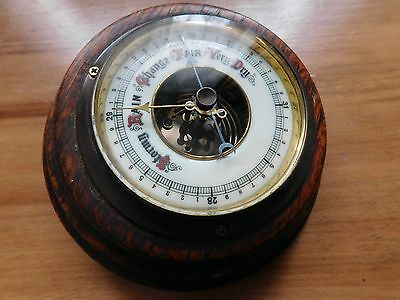 Antique Aneroid Barometer in Oak Frame with Enamel Face and Beveled Glass