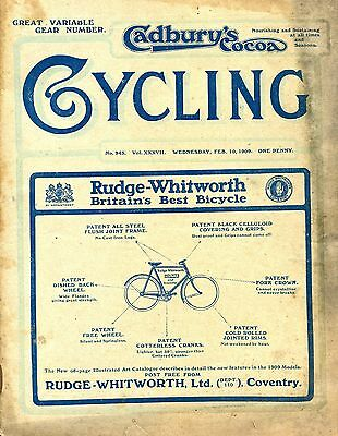 """""""Cycling"""" Wed. Feb.10th.1909, Great Variable Gear Number, Patterson Print."""