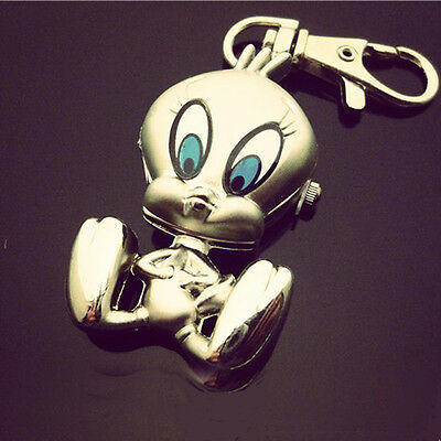DBS Silver Plated Tweety Bird Key Ring Pocket Watch Quartz Movement Cartoon