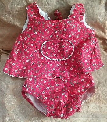 Vintage Toddle Tyke Girls 2 Piece Outfit Set Snap Rubber Pants Diaper Cover