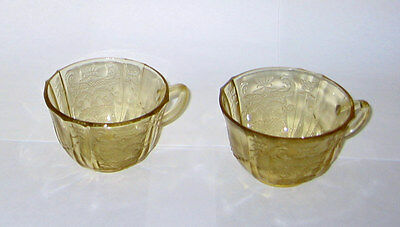 Federal Yellow Depression Glass  PAIR CUPS  -  FGC  Madrid pattern  2.5in
