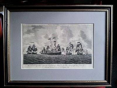 Antique maritime engraving (1780): Russel's History of England. Seven Years War.