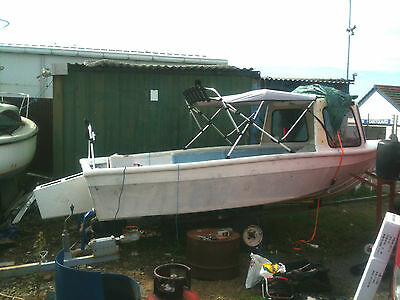 Fishing Boat With Pod & Outboard Engine With Trailer Sun Canopy