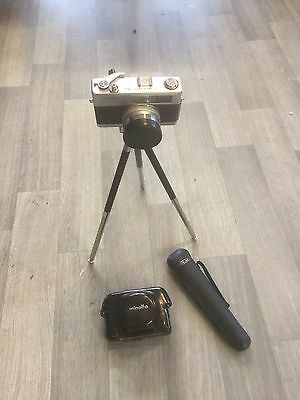 Vintage Minolta HI-MATIC 7s 35mm Complete With Tripod And Leather Cases