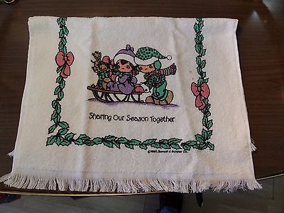 """Precious Moments Hand Towel 16 X 24 """"sharing Our Season Together"""" 1990 Usa"""