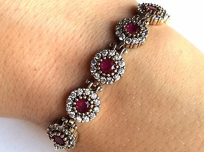 Magnificent! Turkish Handmade Ruby Topaz Sterling Silver 925K Bracelet