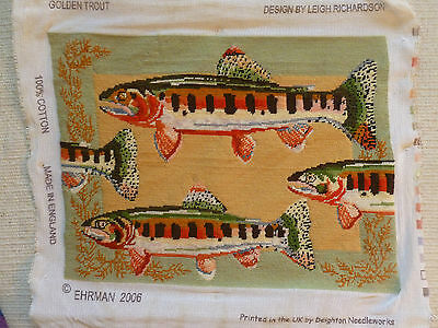 EHRMAN TAPESTRY WOOL NEEDLEPOINT COMPLETED GOLDEN TROUT Design 2006