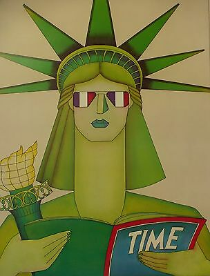 Vintage Twa Poster - 1986 Statue Liberty France - Fanny Berry Mallet Illustrator