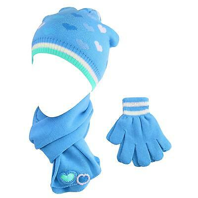 Girls Age 4-6 Winter 3pc Cute Heart Knit Beanie Hat Long Scarf Gloves Set Turq.