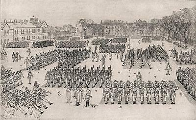ANTHONY GROSS Signed Etching 11 O'CLOCK PARADE GUARD'S DEPOT CATERHAM 1940 WWII