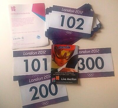 70 Official Competitor Bib Numbers London 2012 Runners Athletes Rare Mint Items