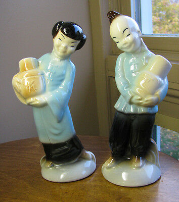 Royal Copley Asian Oriental Girl & Boy Carrying Pots Character Figurine 8""
