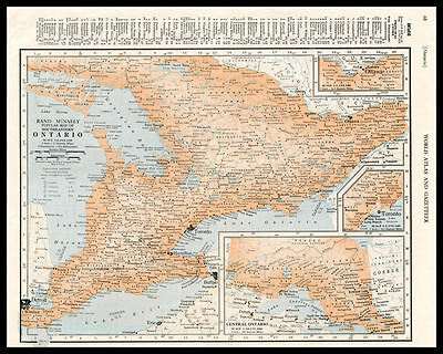 ONTARIO Canada Province Great Lakes 1945 antique color lithograph Map